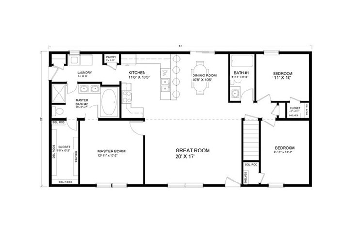 1,501 to 1,700 sq. ft. Ranch Floor Plans | Advanced Systems ... on 1300 1400 sq ft floor plans, 1200 sq ft. house floor plans, 1700 1900 square foot floor plans, 1900 square foot house plans,