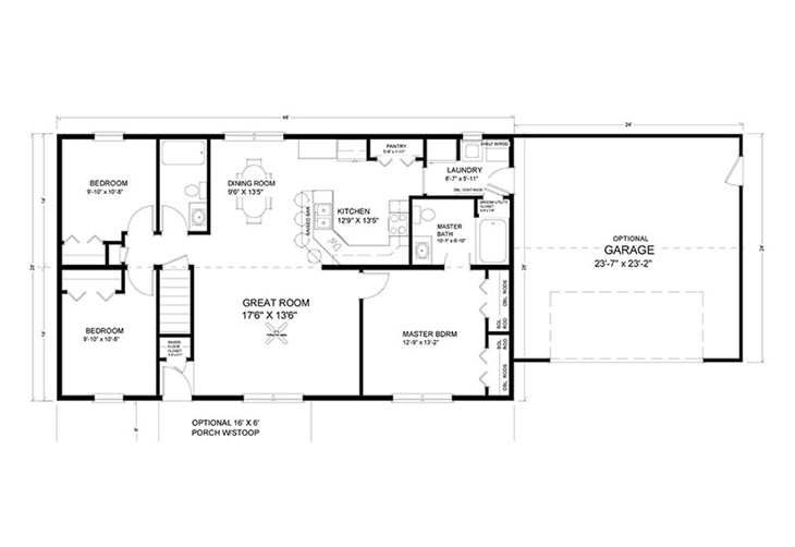on rancg 1500 sq ft house floor plan